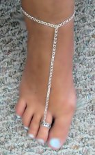 Open sterling toe ring barefoot chain thong anklet Silver sep