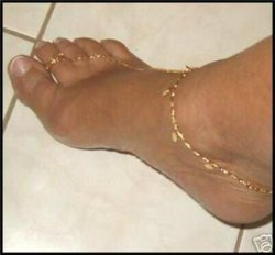 14k GOLD gep charm Weave barefoot anklet &TOE ring
