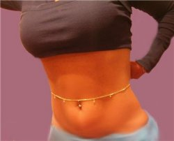 Interchange CRYSTALS Solid Gold gep Navel Belly Chain