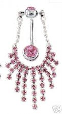 DIVA SEXY Pink navel Waterfall Cz Sexy Navel Belly Bar