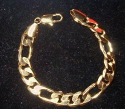 Mens Gold gep figaro 1/2 Wide bracelet SOLID
