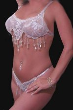 Stripper Showgirl Bride BRA Thong Panty Sequin SET