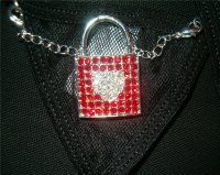 Lock Heart Crystal Rhinestones Belly String Thong SEXY