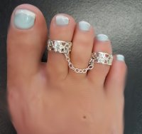 double flower sterling toe rings