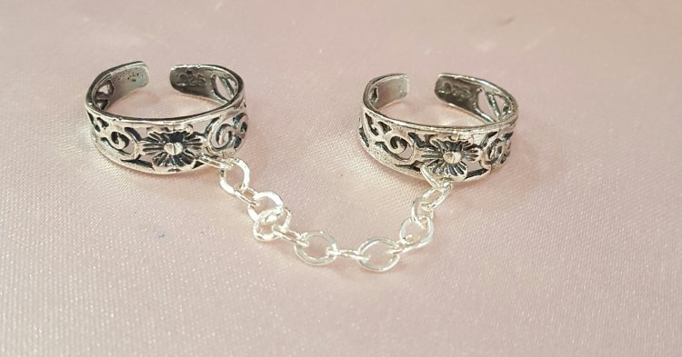 double flower sterling toe rings - Click Image to Close