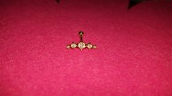 14 Karat Gold 5 Stone Cartilage Earring