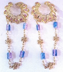 Pink non pierce nipple clips with glass beads and flower chains