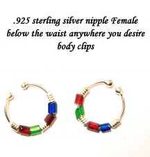 Nipple Navel Female area Body Clips STERLING SILVER