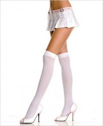 Over the Knee hosiery Opaque White SEXY Music Legs