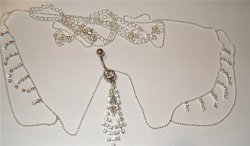 Marquise Silver Duo Navel Bar & Rhinestone Belly Chain