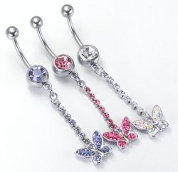 14g Butterfly Belly Bar dangle drop adorned w/ sparkling crystal