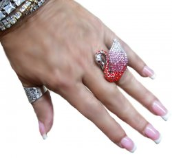 Pink Red Rhinestone Swan Ring SparkleAdjustableSilverStrecthBand