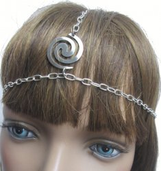 Dancer Boho Head Chain head band Silver swirl one size fits most