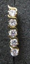 14 Karat GOLD cubic zirconia reverse Navel Bar or Vag 14g