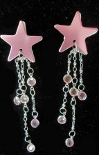 Adhesive Metallic Pink Star pasties with jewels and chains
