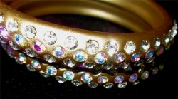 Pair of Genuine Crystal Rhinestone Matte Gold Tone Bracelets