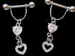 Nipple pierce Bars with cubic zircomia hearts shapes