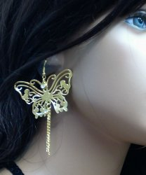 Butterfly Filagree Earrings Large Diva Crystal