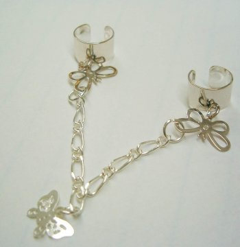 .925 Sterling Silver Labia Clit Chain Butterfly NO pierce clip