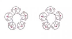 Celtic Silver and Pink Crystal Nipple Shields NO Pierce