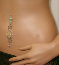 Chandelier Bright Colors Crystal Navel Bar With Stones