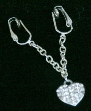 Crystal Heart Dangle Pussy Clip NO Pierce Labia Clip