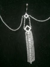 Diamond Drape Stunning Attached Pierced Belly Chain