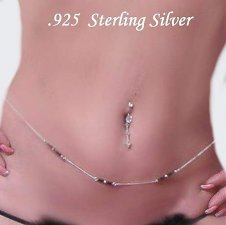 Real .925 Sterling Silver Austrian Crystal Belly Chain