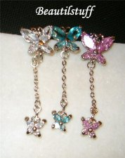 Butterflys CZ attached pierced Navel Bar Belly chain