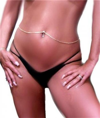 Scroll Thick Interchangable Navel Bar ring Belly Chain