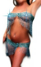 Dancer Wide Cinch Beaded Teal Sparkle Bra Belt Skirt