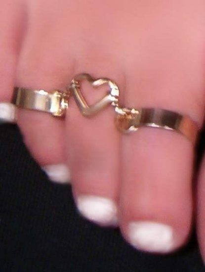 Double Fetish Heart GOLD gep Vermeil SS Band Toe rings - Click Image to Close