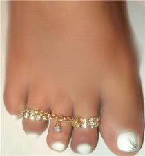Sweet Feet 2 row Duo Rings Crystal w/Swarovski chains toe ring