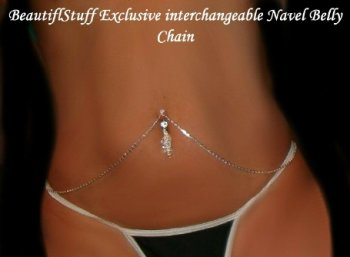 Scroll unique Interchangable Navel Bar ring Belly Chain