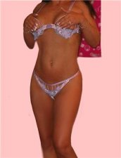 Bead Floral Lilac Sequin Dancer Bikini Thong Bra Set