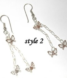 Drop chain Butterfky quality earrings Gold gep Or Silver sep