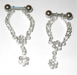 Flower Crystal Rhinestone CBR Nipple Pierced Pair Bars