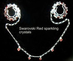 Nipple NO pierce Hearts crystal RED Hearts Body chain