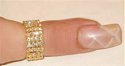 Designed w SWAROVSKI 4 ROW CRYSTAL THUMB TO LARGE TOE RING