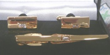 Mens tie Bar and Cuff link SET GOLD gep