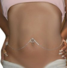 Reverse Navel attached Heart Belly Chain Emerald Cut