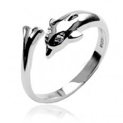.925 Sterling Silver Dolphin Toe Ring Adjustable
