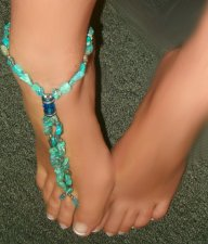 One of a KIND Turquoise Swarovski Barefoot Anklet