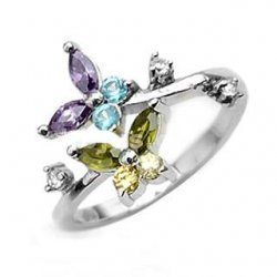 Butterfly Genuine Cubic Colors Stunning Toe Ring