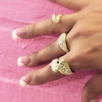 triple snake rhinestone GOLD Ring Celebritiy