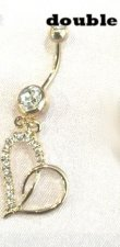 Double your love Navel Belly Charm Bar Gold gep