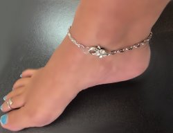 link Flower Clasp Ankle Bracelet Silver sep SEXY