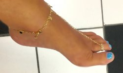 14k GOLD gep Sterling electroplate HEART barefoot thong Anklet