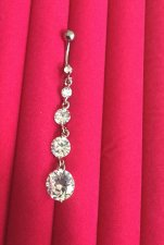 Sterling cubic drop dead long cubic zirconia navel bar