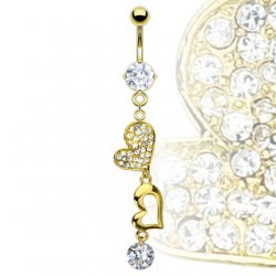 Gold Plated Double Heart With Large CZ Dangle